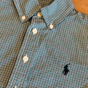 Ralph Lauren L/S Shirt Green Plaid Blue Boys Sz 8